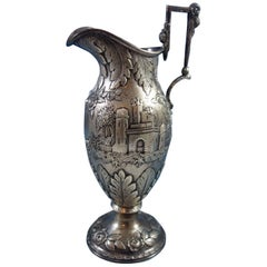 Repousse by AG Schultz Sterling Silver Milk Pitcher Architectural Castle, Leaves