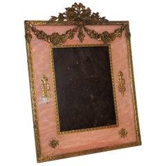 Wonderful French Empire Neoclassical Doré Bronze Ormolu Rose Silk Picture Frame