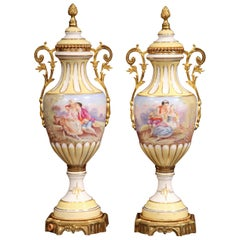 Pair of 19th Century French Painted Porcelain and Bronze Vases Signed Maxant