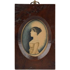 Delightful Miniature Naïve Portrait of a Young Girl