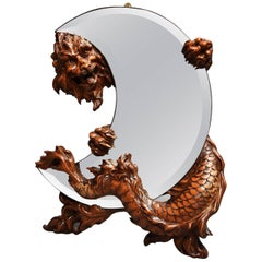 19th Century Rare and Superbly Carved Walnut 'Shishi' Mirror