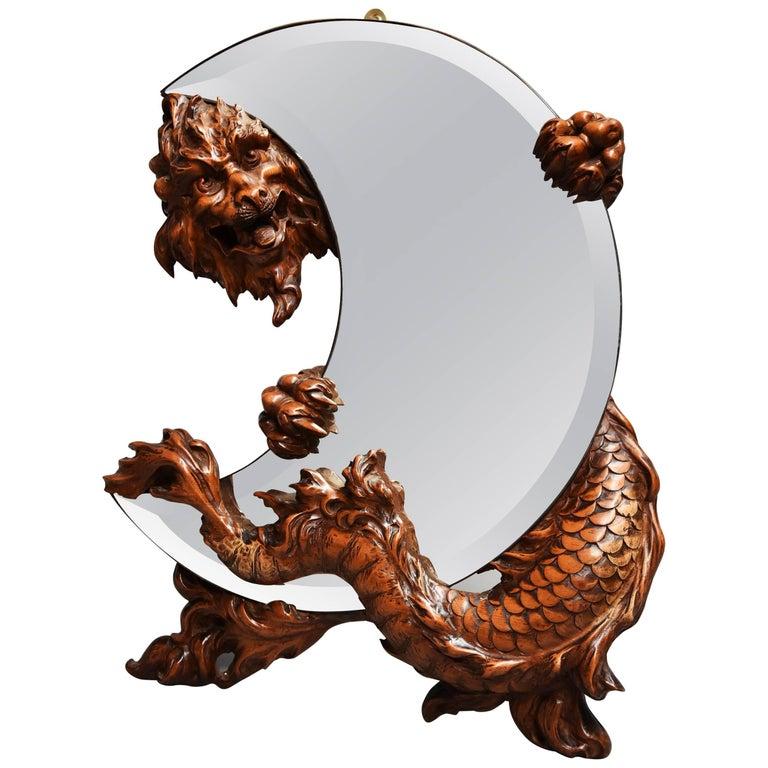 19th Century Rare and Superbly Carved Walnut 'Shishi' Mirror