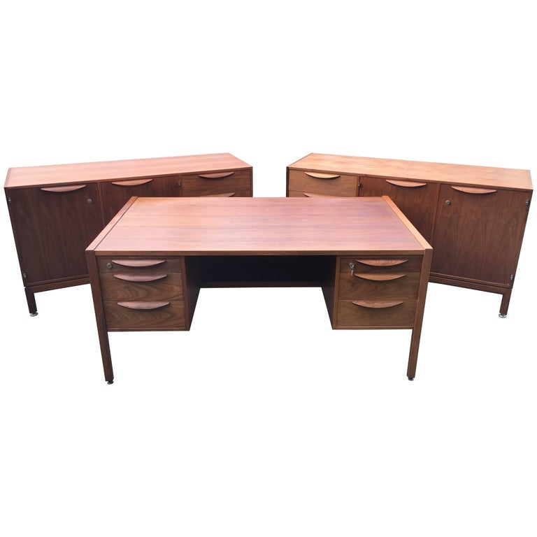 Jens Risom Walnut Desk and Matching Pair of Cabinets