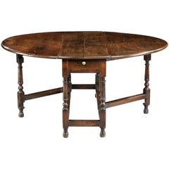 William And Mary Period Oval Drop Leaf Dining Table 8000 English Bespoke Made