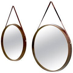 Pair of Round Mahogany and Leather Wall Mirrors, Italy, 1950s