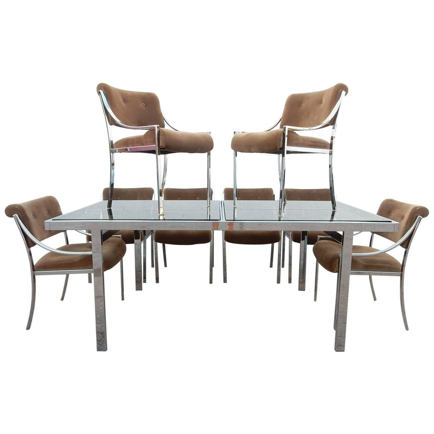 1970s Pierre Cardin Chrome Dining Table with Eight Chairs For Sale