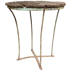 1920s Distressed Wood & Metal Garden and Bistro Table Found in Northern France