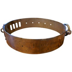 19th Century French Nickel Silver Hunting Dog Collar, Engraved Provenance