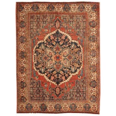 Small Scatter Size Antique Persian Senneh Rug