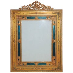 Elegant French Regency Empire Dore Bronze Very Fine Green Enamel Picture Frame