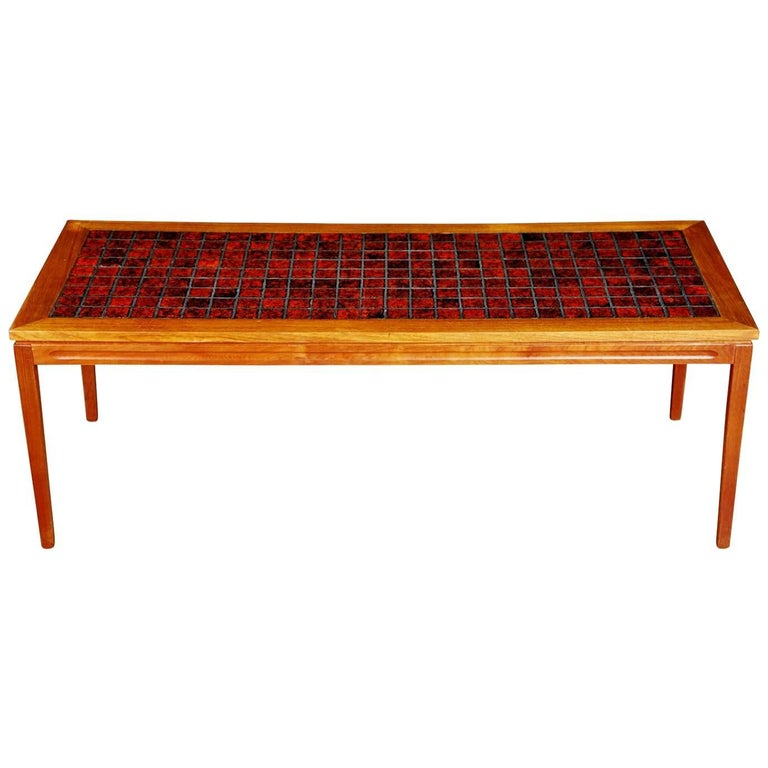 Danish Teak Coffee Table with Red Tile-Top, circa 1960