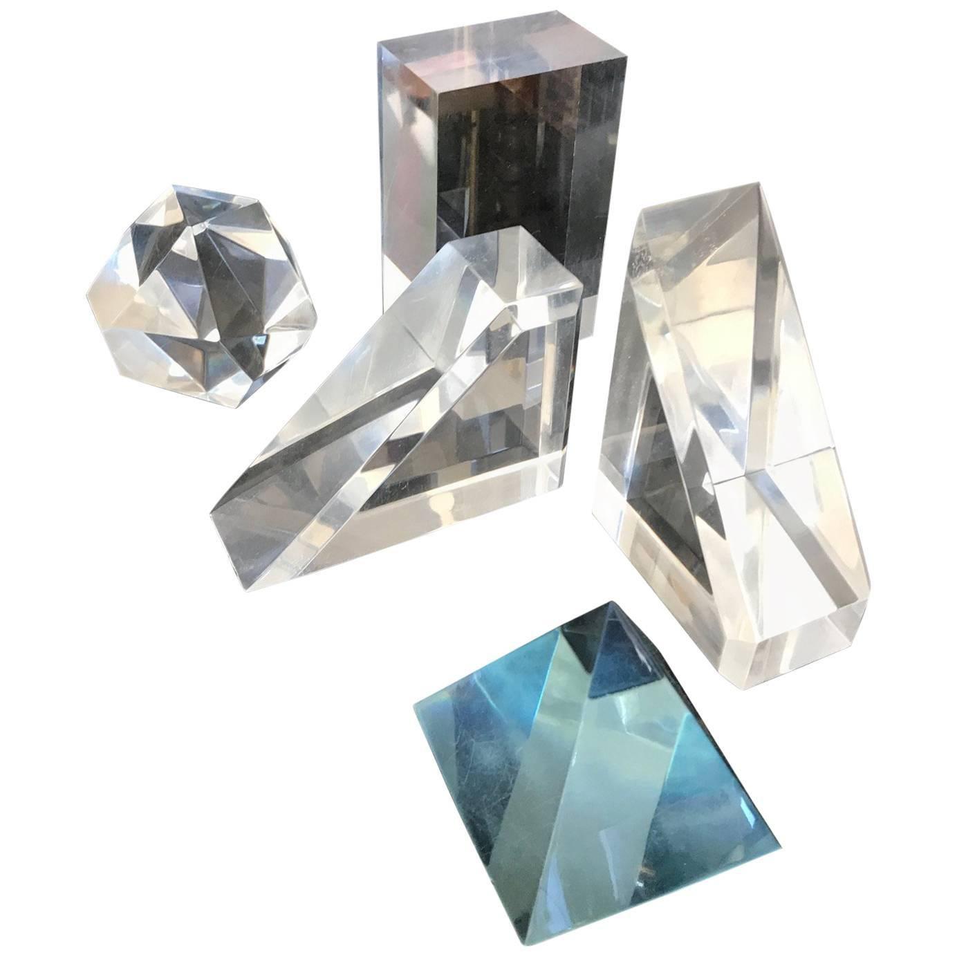 Set of Five Lucite Decorative Geometric Sculptures