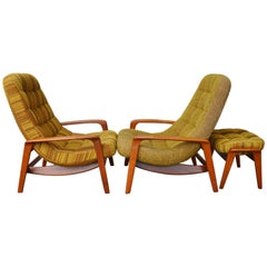 """Two Teak Frame Button-Tufted """"Palm"""" Lounge Chairs by R. Huber & Co. & Ottoman"""
