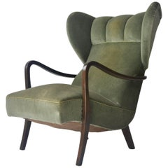 1950s Danish Wingback Lounge Chair