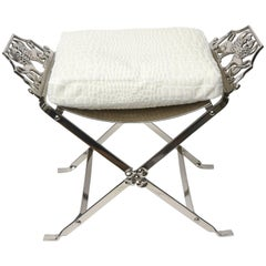 Art Deco Inspired Nickel Silver and Upholstered Griffin Bench