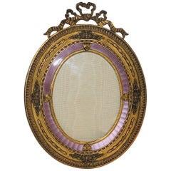Fine Vintage French Bow Doré Bronze Oval Lavender Enamel Picture Frame