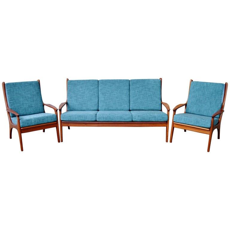 Teak Living Room Furniture: Danish Teak Frame Sofa And Pair Of Lounge Chairs, Teal