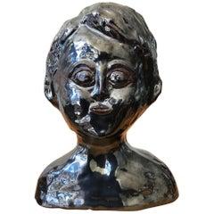 Glazed Metallic Ceramic Bust