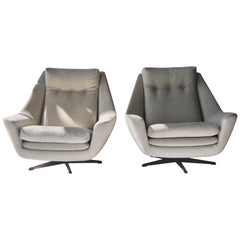 Pair of H. W. Klein Swivel Lounge Chairs