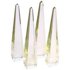 Striking Set of Four Italian Citrine Glass Obelisks