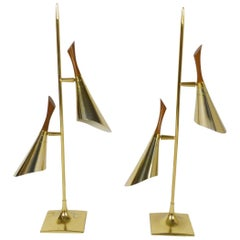 Pair of Brass and Walnut Two Cone Lamps by Laurel Lamp Co.