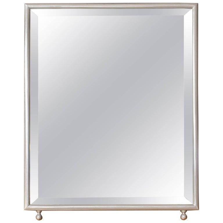 Small Rectangular Nickel-Plated Vanity Dressing Mirror