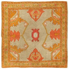 Square Antique Oushak Rug