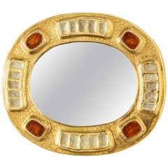 Lembo Ceramic Jewel Mirror with Gold and Dark Red Enamel, France, 1970s