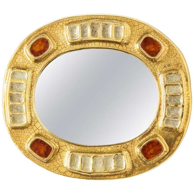 Lembo Ceramic Jewel Mirror with Gold and Dark Red Enamel, France, 1970s For Sale
