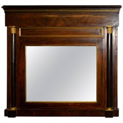 Danish Empire Overmantel Mirror of Mahogany
