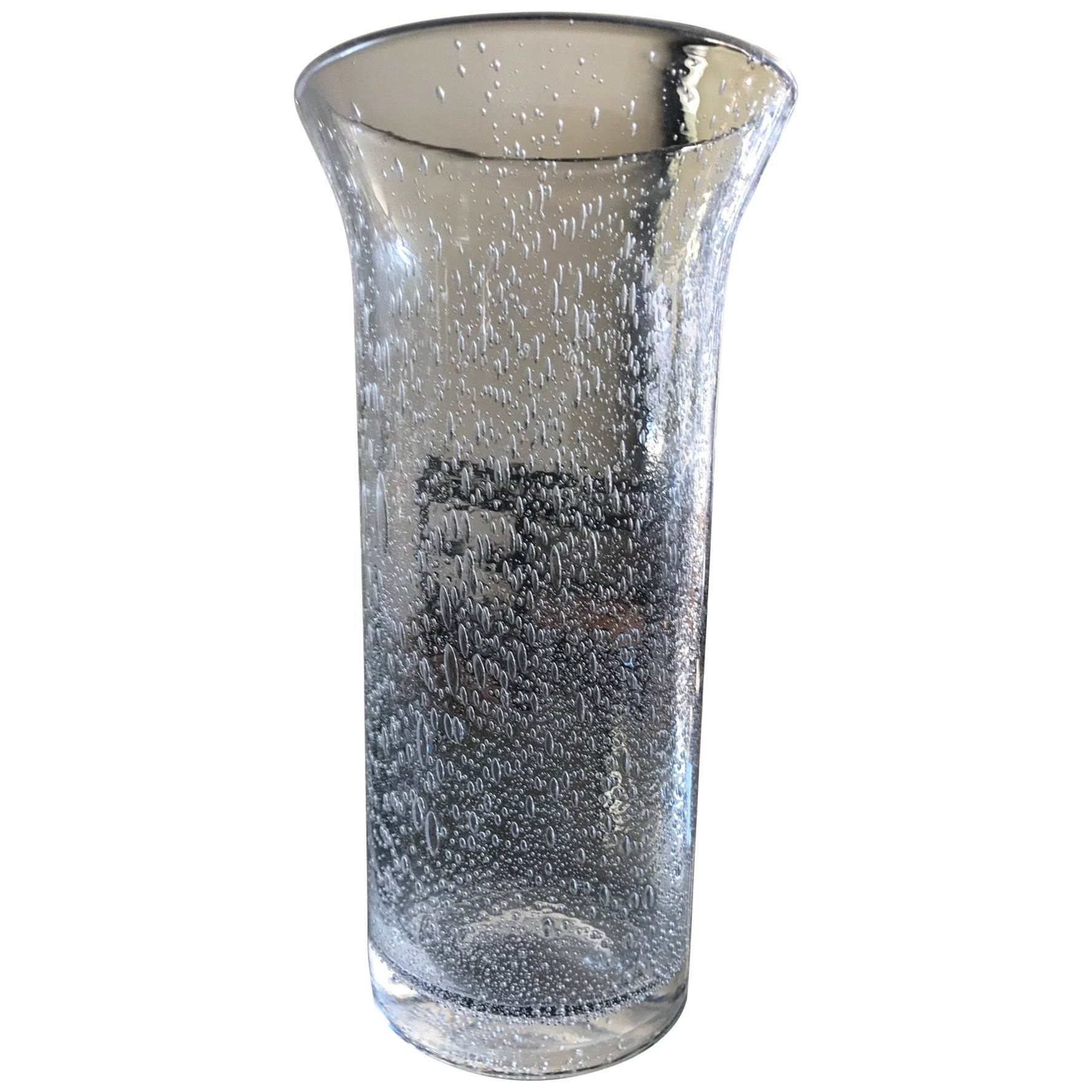 Murano Clear Glass Vase with Bubble Inclusions
