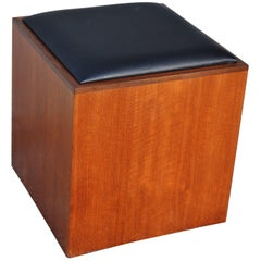Danish Teak Stool or Ottoman with Hidden Storage for LPs or Books