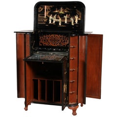 Vintage Inlaid Chinoiserie Bar Cabinet