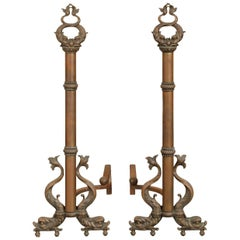 Pair of Brass Andirons with Dolphin Motifs