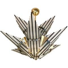 Chandelier Star Glass Rods and Brass, Italy, 1980s