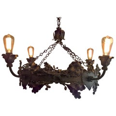 Mid-Century German Rustic Iron Pendant Hand-Crafted with Oaks and Oak Leaves