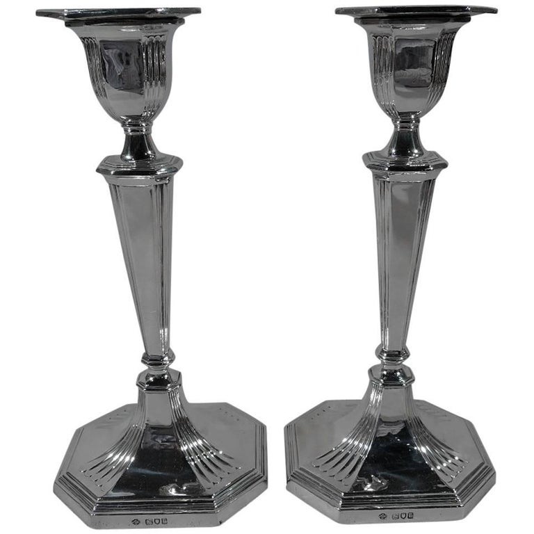 Handsome Pair of English Edwardian Sterling Silver Candlesticks