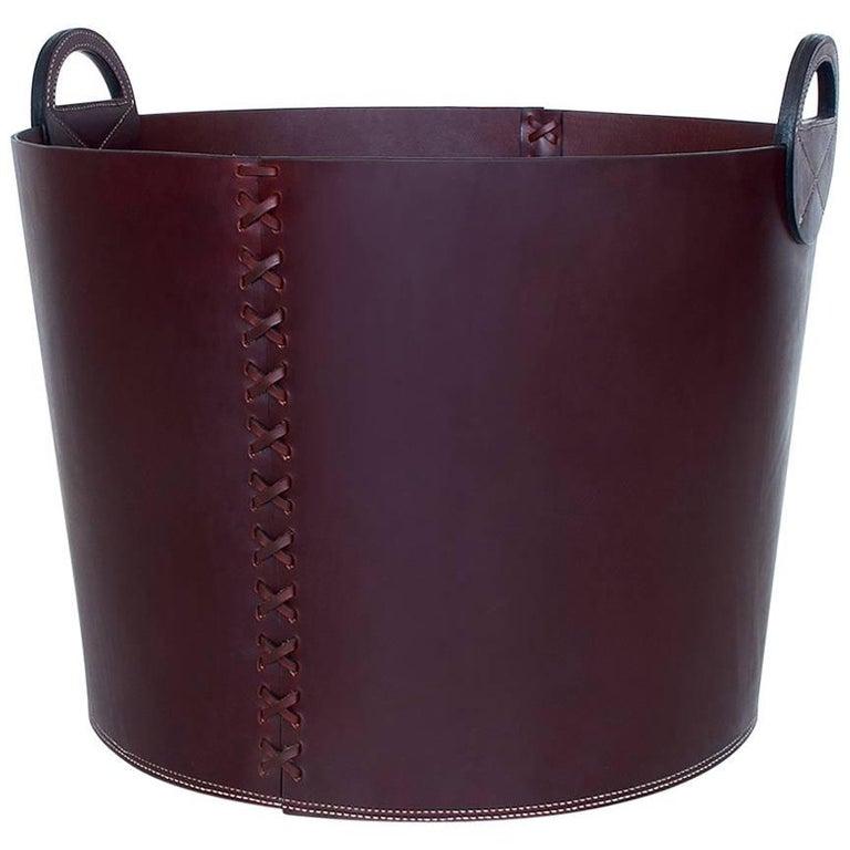 Leather Bushel Basket with White Oak or Aromatic Cedar Bottom