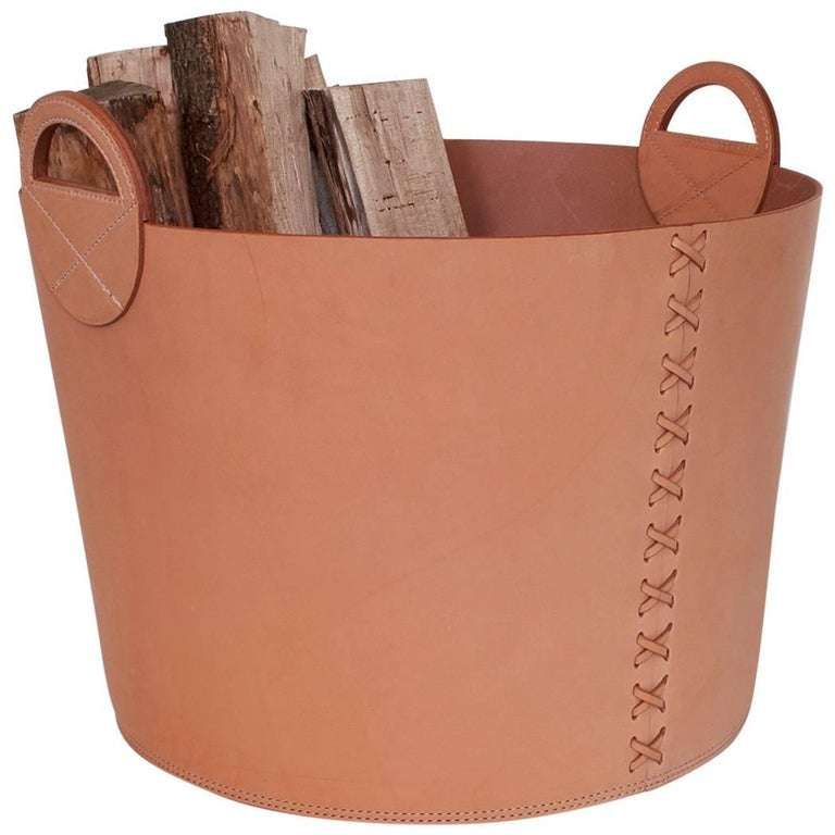 Leather Bushel Basket with White Oak or Aromatic Cedar Bottom 1