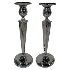Pair of Pretty Antique American Sterling Silver Candlesticks