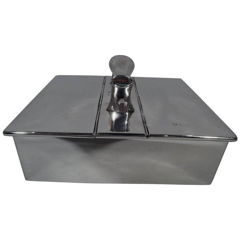 Extraordinary English Sterling Silver Humidor Cigar Box