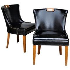 1940s Regency Brass Tacked Slipper Chairs
