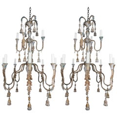 Pair of Italian Wood Beaded Painted Chandeliers