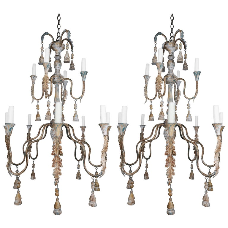 Pair of Italian Wood Beaded Painted Chandeliers For Sale