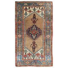 Antique Persian Serab Rug with Stretched Tribal Medallion in Camel, Blue & Ivory