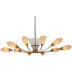 Midcentury French Modernist Bronze and Glass Chandelier