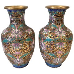 Pair of Chinese Cloisonne Urns Vases