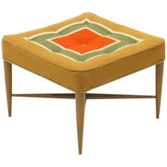 Foot Stool or Ottoman by Edward Wormley for Dunbar, Original Patterned Fabric
