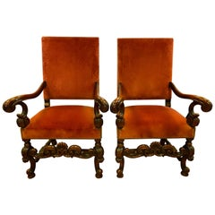 Pair of Antique Italian Carved Walnut Armchairs