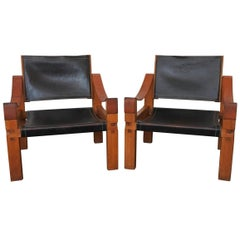 Pierre Chapo Pair of S10 Lounge Chairs in Elm Wood and Leather, France, 1970s
